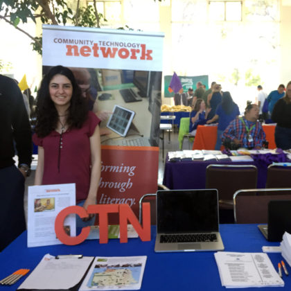 Volunteers Ahmed Abrash and Bendi Yilmaz staffing CTN table at Housing Expo